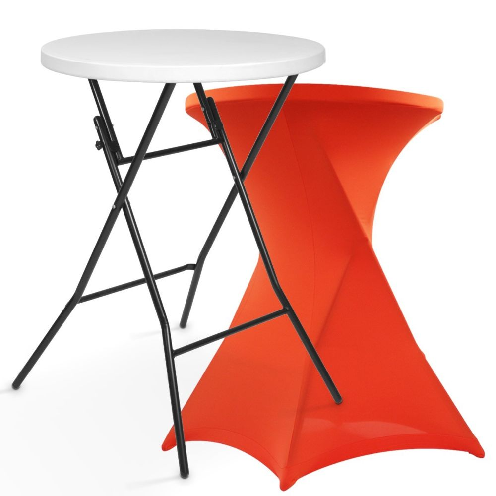Mobeventpro Mange debout pliant avec housse stretch orange