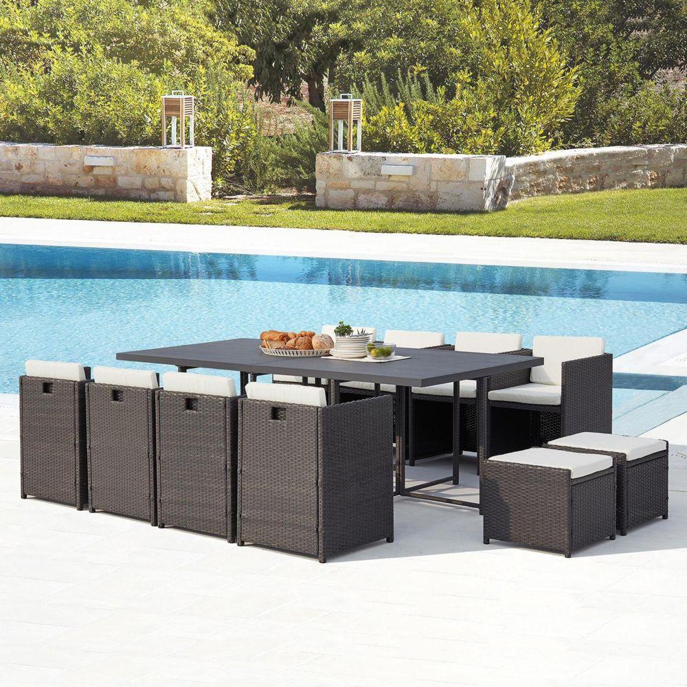 Concept Usine Sunset 12 : salon de jardin encastrable 12 places en résine tressée et aluminium gris/blanc