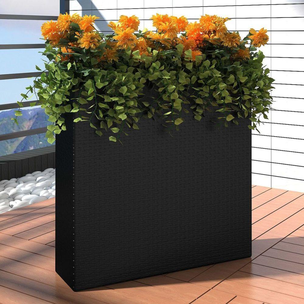 Vidaxl 1 Bac Rectangle Pot de Fleurs en Rotin Noir | Noir