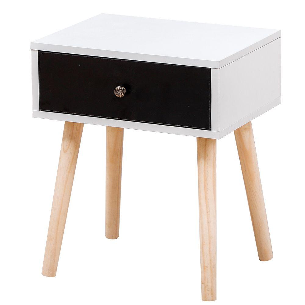 Ltppstore Table de chevet scandinave blanc clair laqué satiné 40*30*50CM
