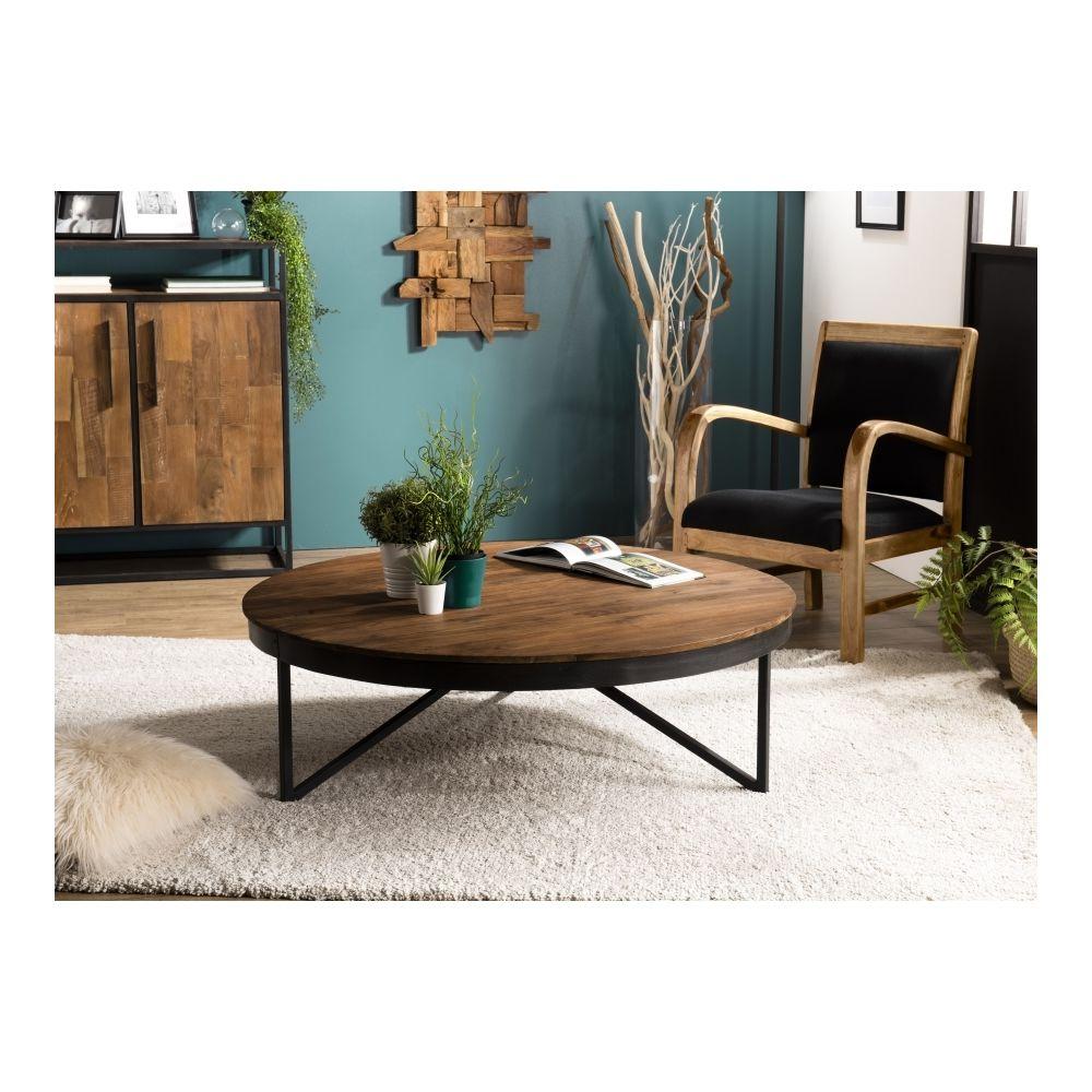 MACABANE Table basse ronde 110x110cm Teck recyclé pieds métal