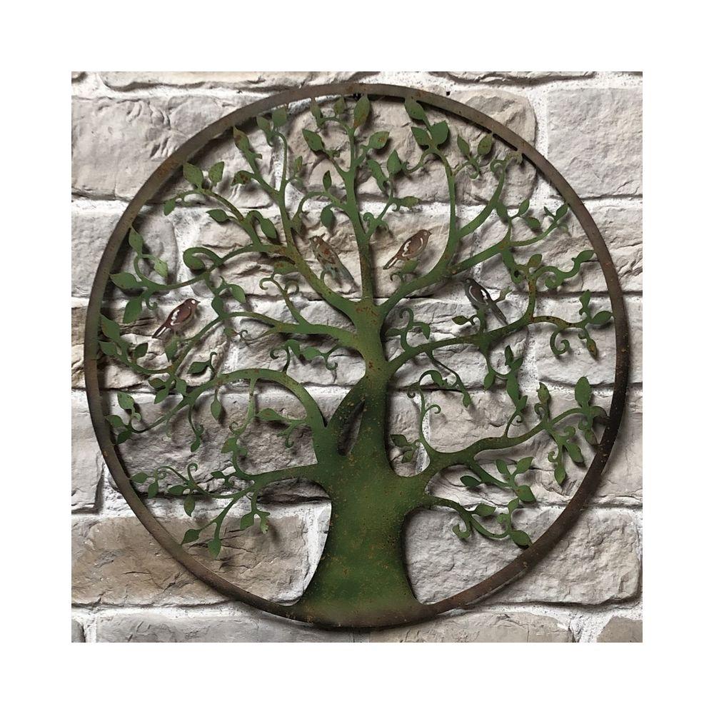 Objet décoration la fresque Arbre en Métal Fer Antique Marron 110 cm XL