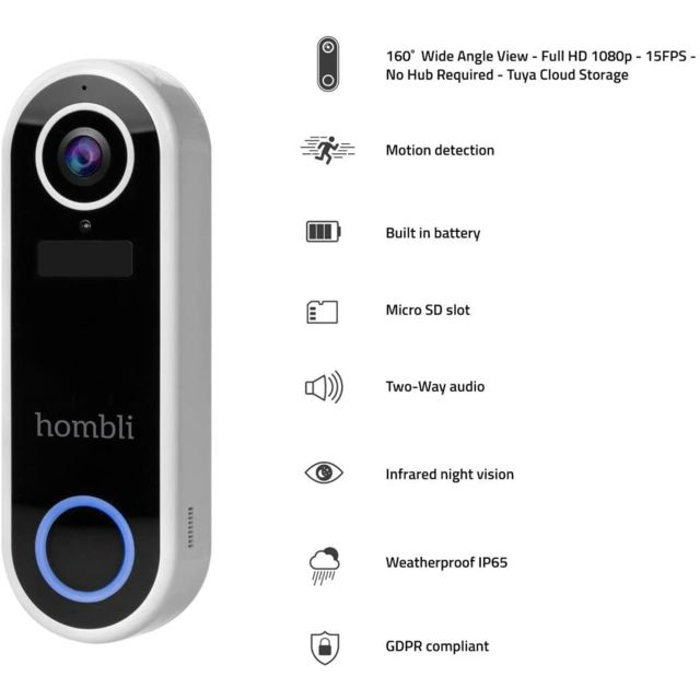 Hombli Smart Doorbell - Sonnette connectée 1080p