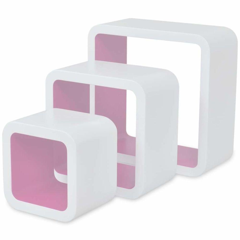 Helloshop26 Étagère armoire meuble design murales forme de cube 6 pcs blanc et rose 2702252