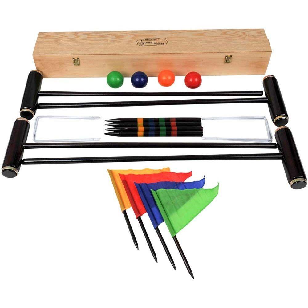 Traditional Garden Games Jeu de croquet en bois 4 maillets