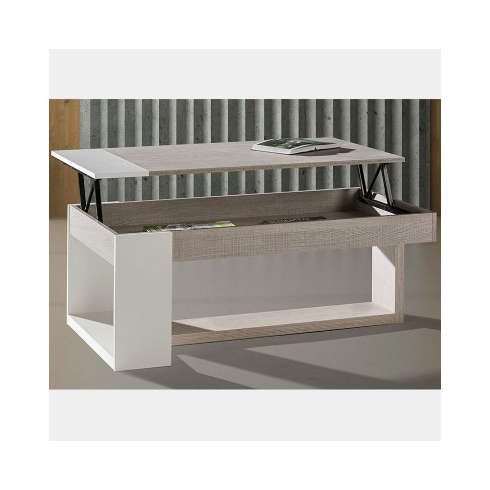 Nouvomeuble Table salon relevable couleur bois clair et blanc CANNES