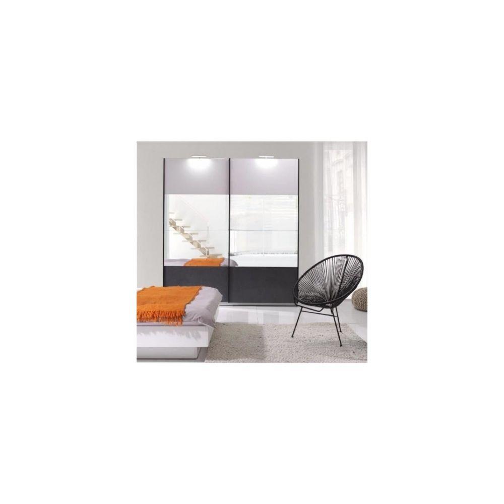 Price Factory Armoire design RENATO 2 portes coulissantes avec miroirs