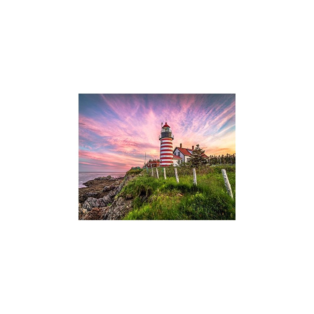 Springbok Springbok Puzzles - West Quoddy Head Lighthouse - 1000 Piece Jigsaw Puzzle - Large 30 Inches by 24 Inches Puzzle - Made