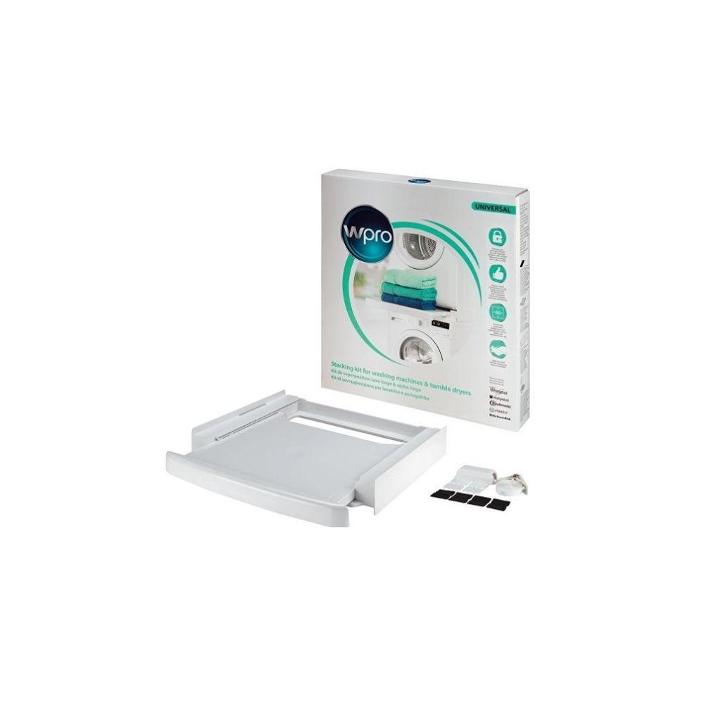 Wpro Kit d'empilage (lave-linge sèche-linge) universel à plateau coulissant w-pro