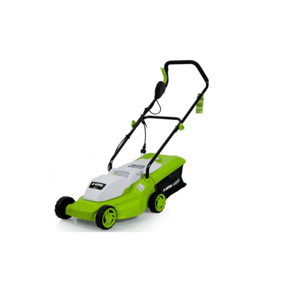 Vito Garden Tondeuse electrique VITOGARDEN 1200W Surface 300M2 Coupe 32 cm Hauteur de coupe 20-65 mm Bac 30L