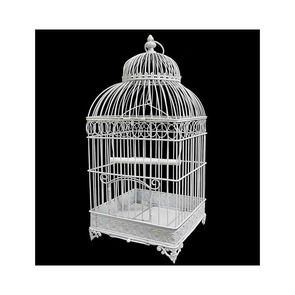 L'Héritier Du Temps Grande Cage à Oiseaux de Jardin Intérieur Extérieur Carrée en Fer Patiné Blanc 25,5x25,5x55cm