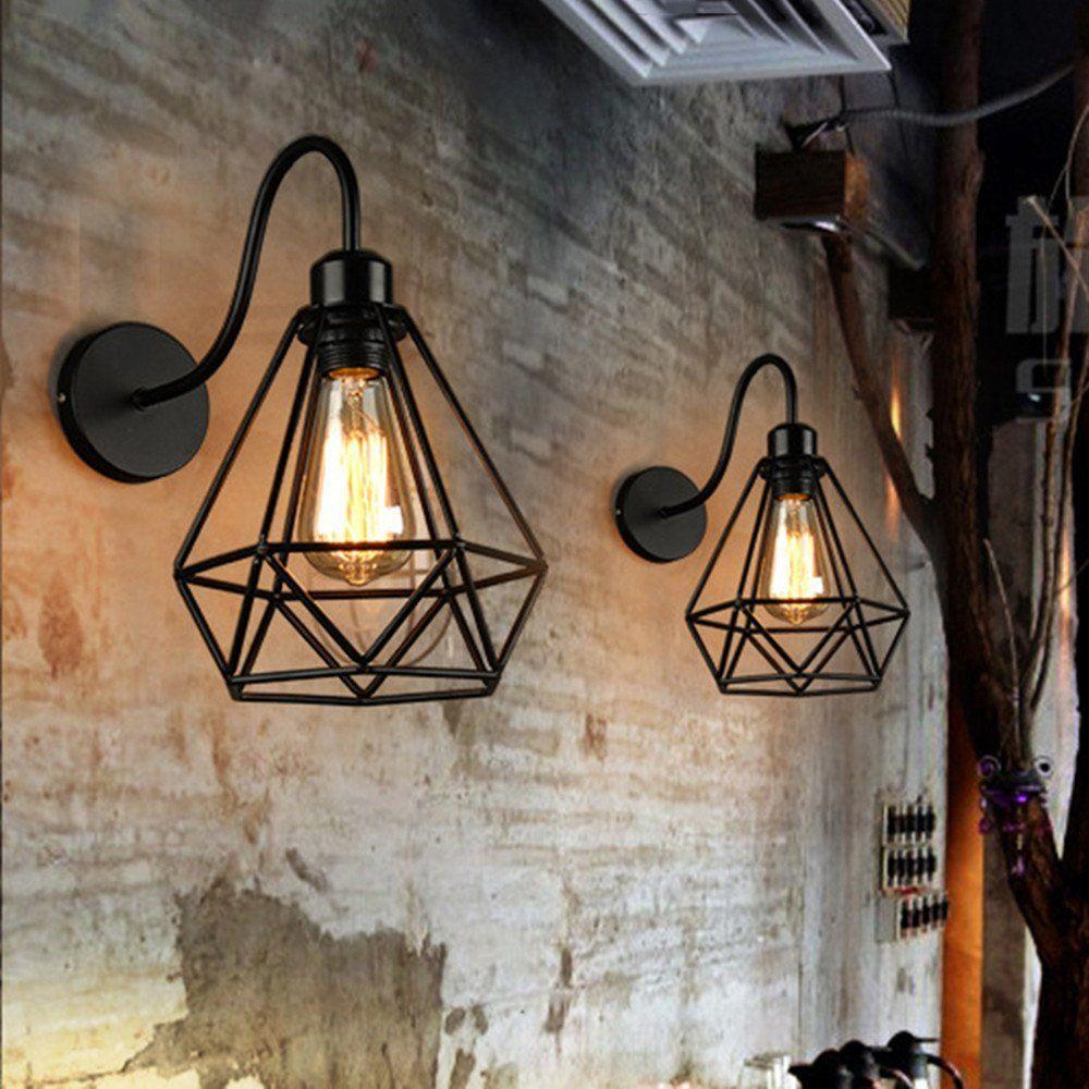 Stoex Lot de 2 Applique Murale forme Diamant en Métal Fer Noir, Lustre abat-jour Cage Forgé Lampe Rétro Industrielle E27 pour
