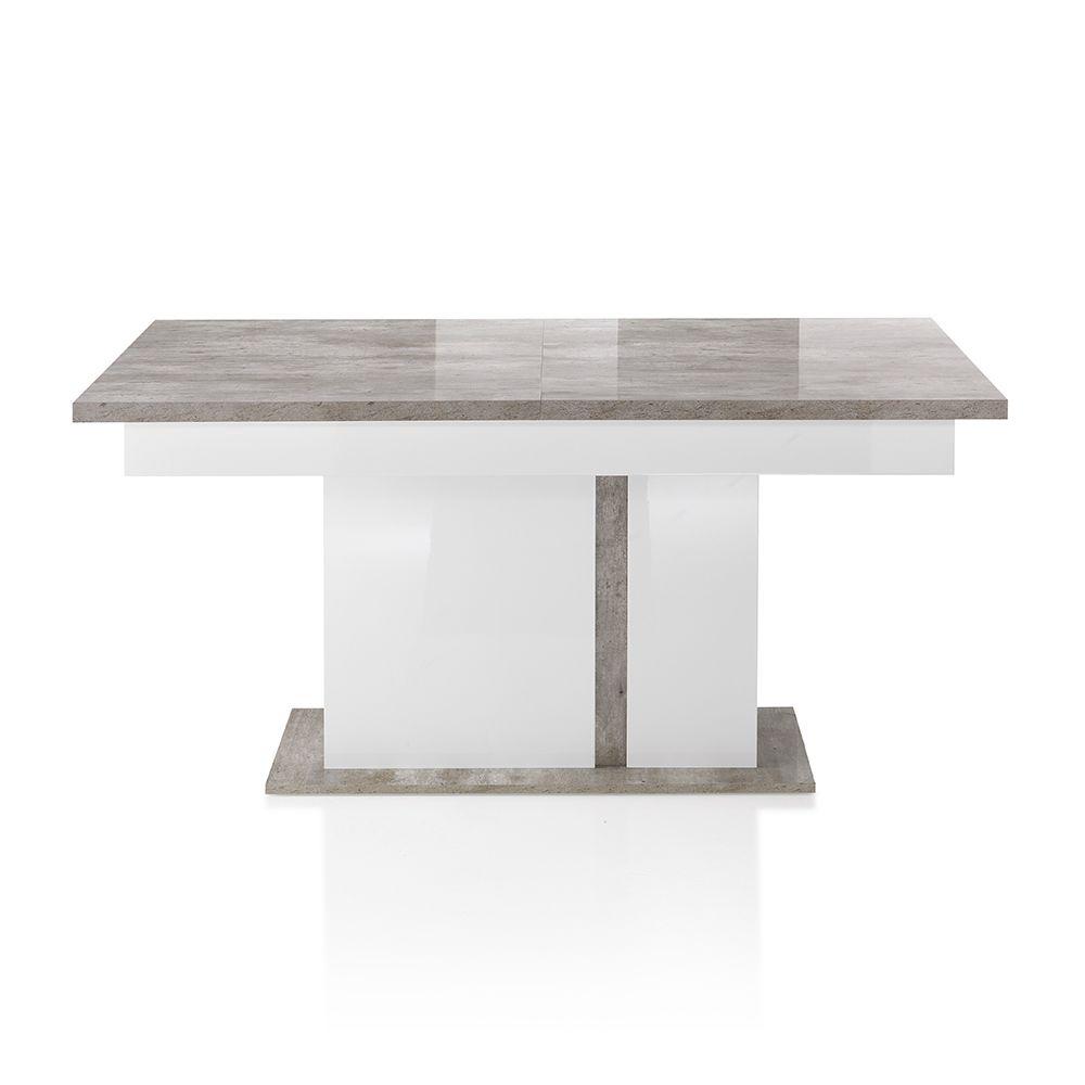 Nouvomeuble Table à manger extensible gris et blanc SANTORIN