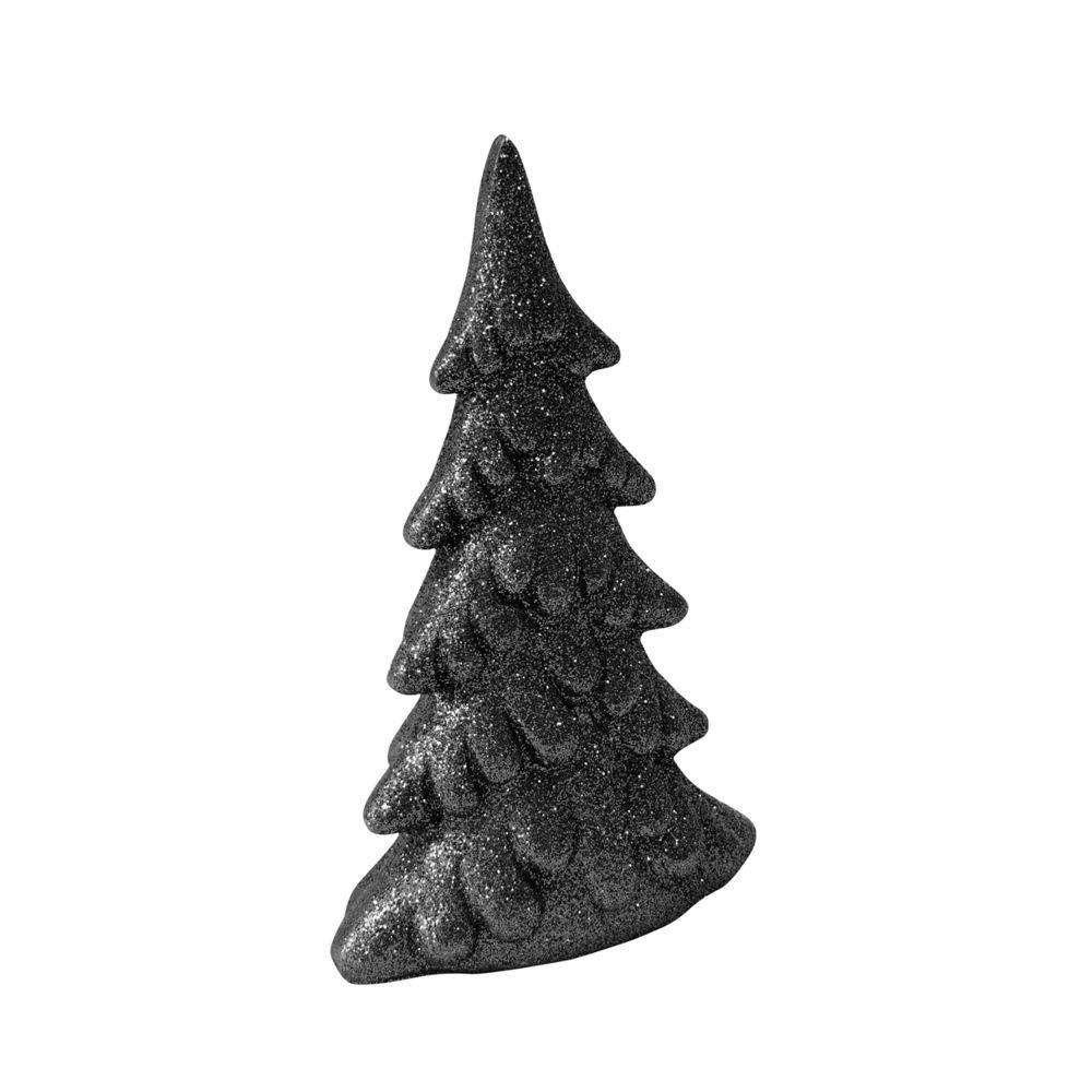 Visiodirect Lot de 10 Figurines sapins de Noël en résine Noir pailleté - 13 x 7,5 cm