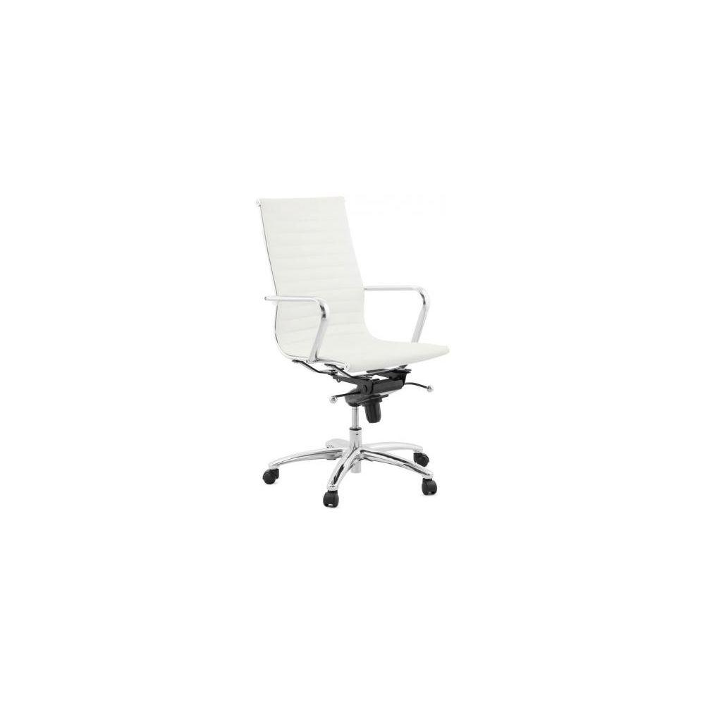 Kokoon Design Chaise de Bureau blanc et chrome ATAL