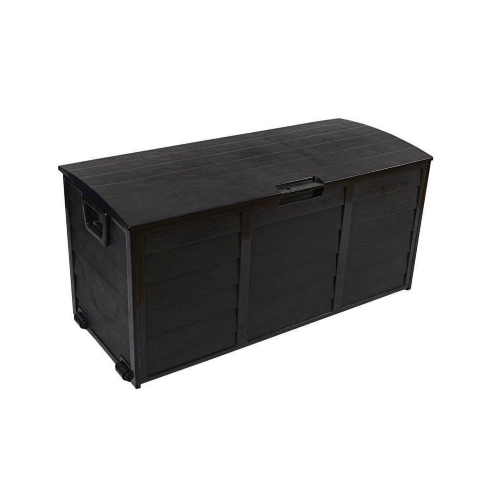 Mobili Rebecca Box Tronc Jardin Terrasse Noir 290 Lt Plastique 2 Roues 52x112x49