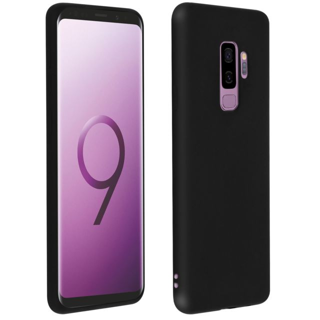 Avizar - Coque Samsung Galaxy S9+ Protection Silicone gel souple Anti-rayure Noir mate - Accessoire Smartphone Samsung galaxy s9 plus
