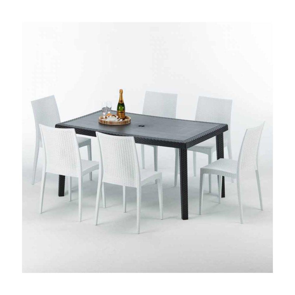 Grand Soleil Table rectangulaire et 6 chaises Poly rotin colorées 150x90cm noir Enjoy, Chaises Modèle: Bistrot Blanc