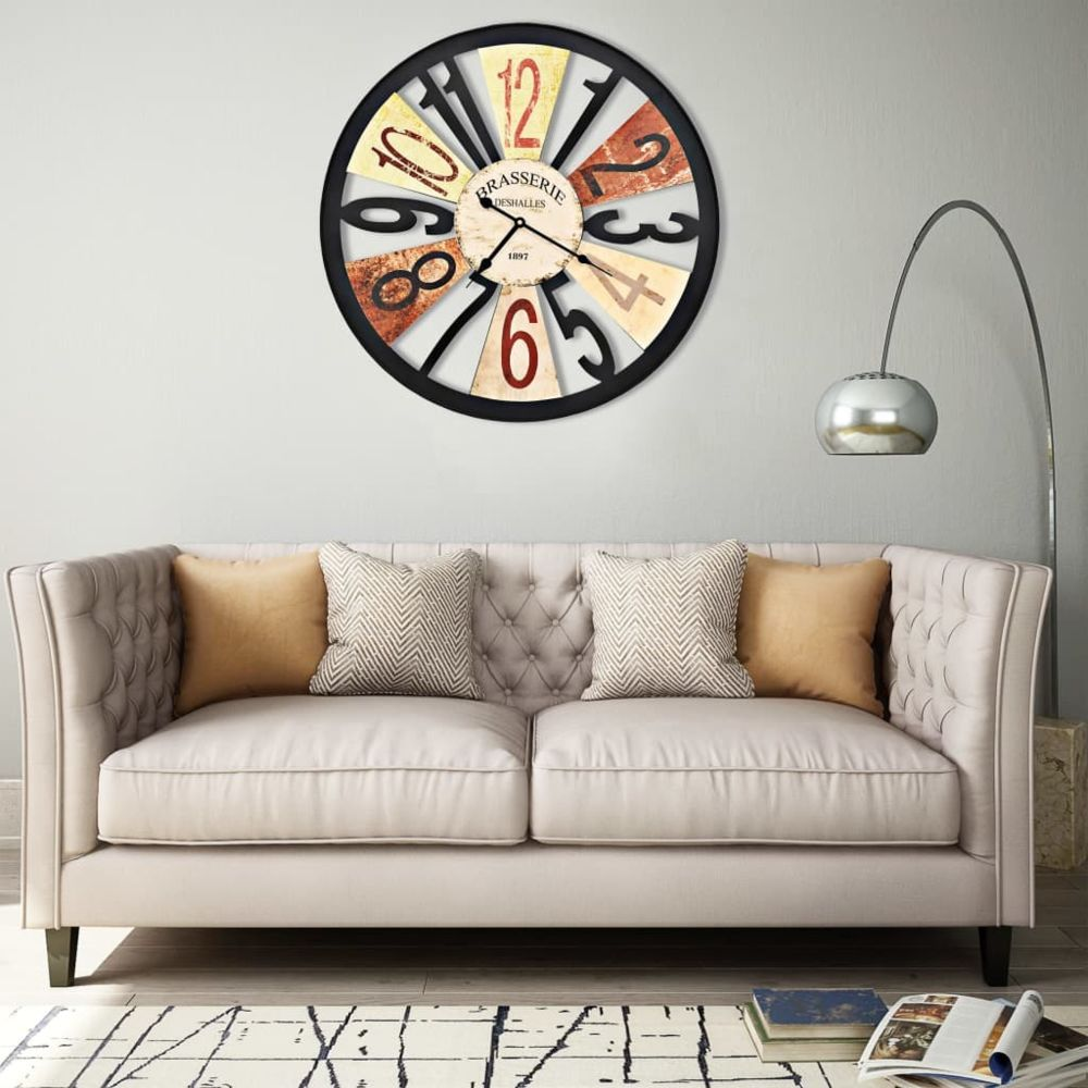 Vidaxl vidaXL Horloge murale Métal 60 cm Multicolore
