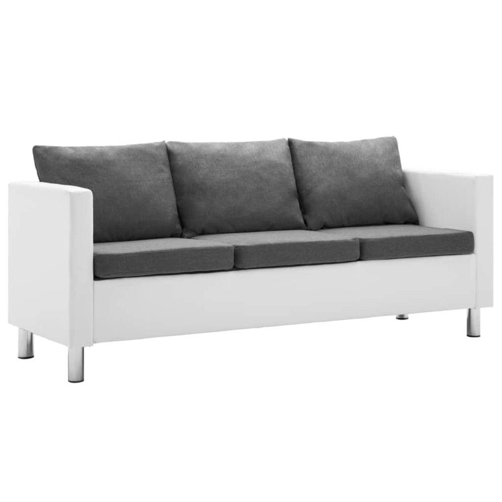 Vidaxl vidaXL Canapé à 3 places Faux cuir Blanc et gris clair