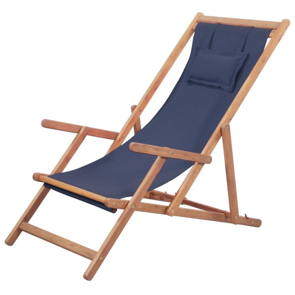 Vidaxl vidaXL Chaise pliable de plage Tissu et cadre en bois Bleu