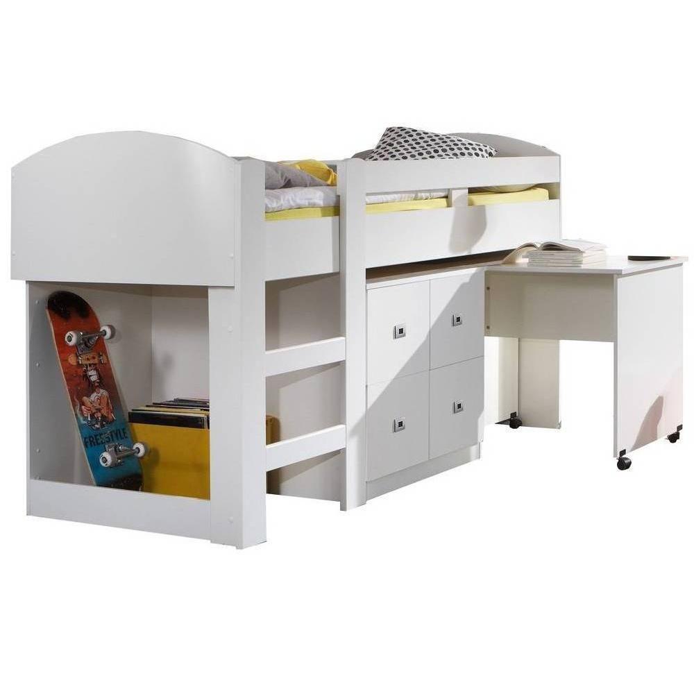 Inside 75 Lit compact bureau DORY finition coloris blanc couchage 90/200 cm