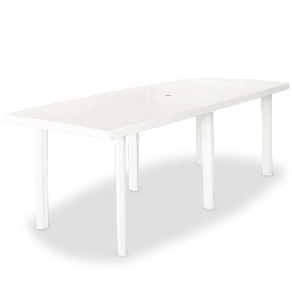 Vidaxl Table de jardin 210 x 96 x 72 cm Plastique Blanc | Blanc