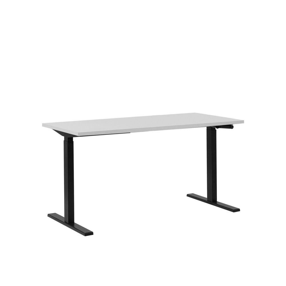 Beliani Beliani Table de bureau 160 x 72 cm blanc et noir hauteur réglable manuellement DESTIN II - blanc