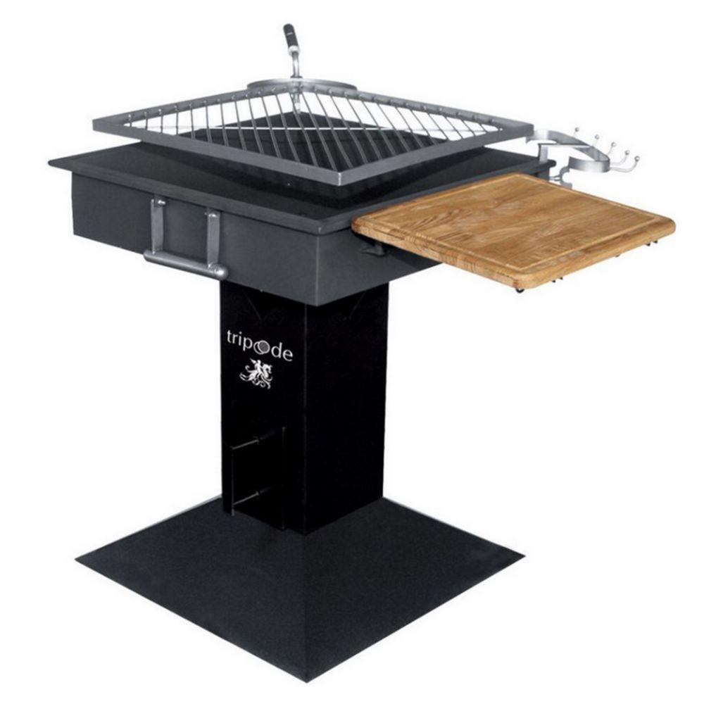 Proweltek Barbecue à charbon grille INOX carrée ROTATIVE 50 X 50 cm tablette bois et crochets
