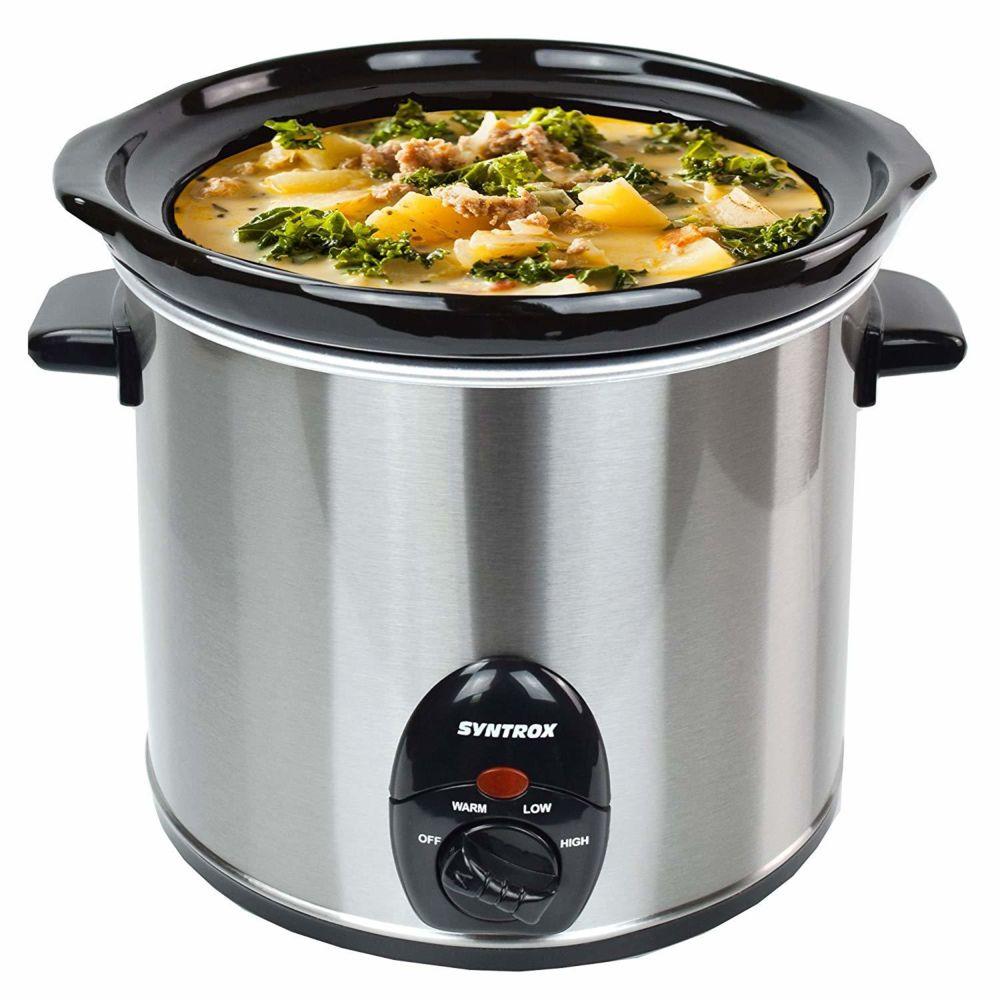 Syntrox Germany Cuisinière lente de 3,0 litres en acier inoxydable avec fonction de maintien au chaud