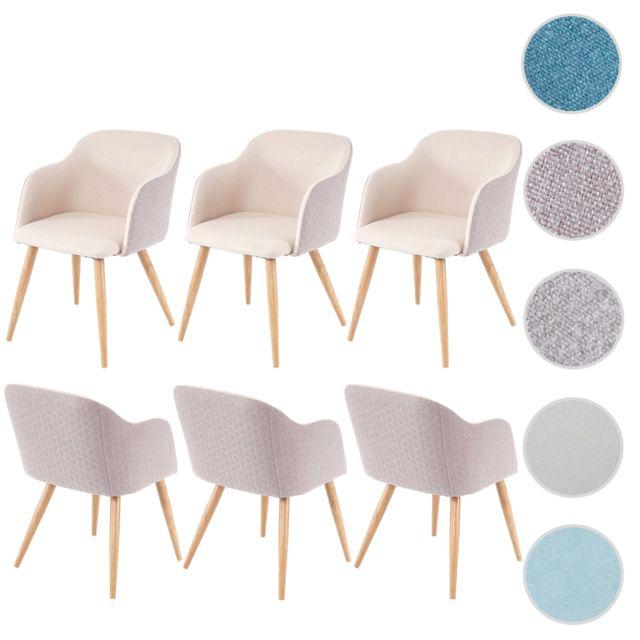 6x chaise de sejour salle a manger hwc d71 design retro accoudoirs tissu
