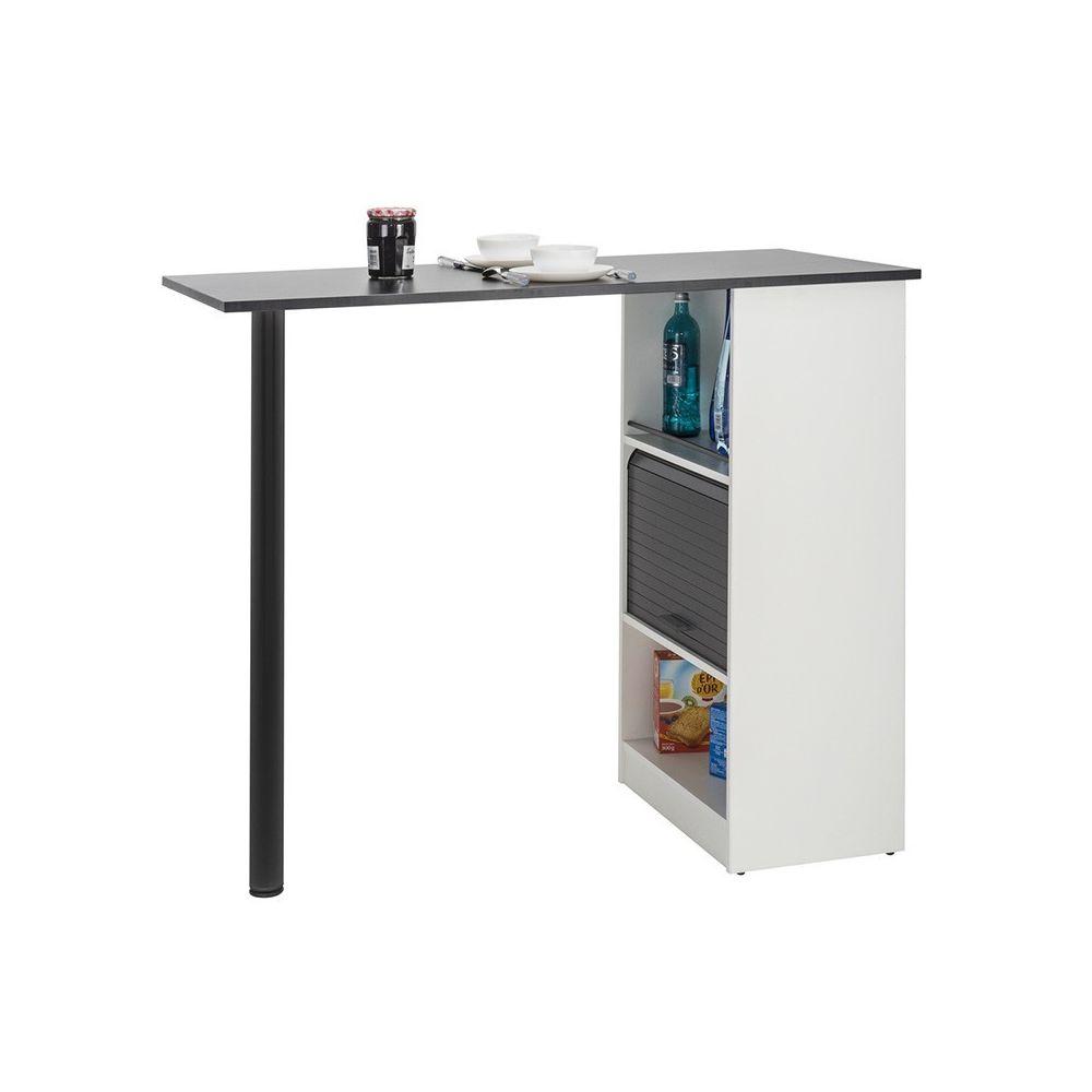 Tousmesmeubles Table comptoir de cuisine Blanc/Noir - FAYTOU