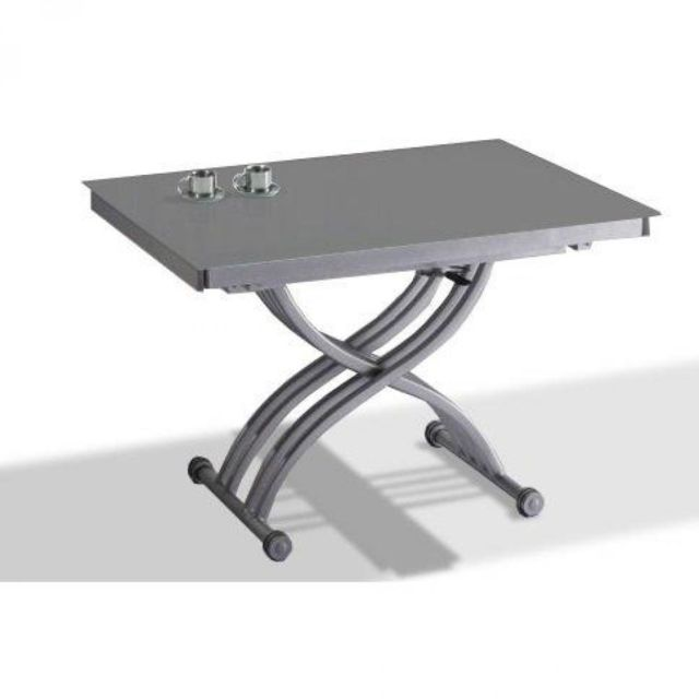 Inside 75 - Table basse FORM relevable extensible, plateau en verre gris. - table verre extensible