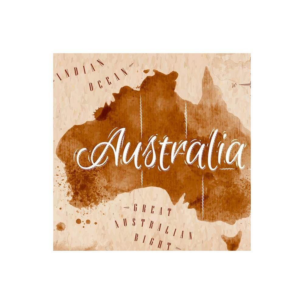 Homemania HOMEMANIA Tableau World - Australie - pour Séjour, Chambre, Bureau - Multicolore en Coton, Bois, 60 x 2 x 60 cm