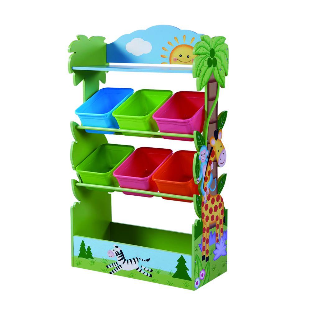 Fantasy Fields Meuble de rangement à jouets avec bacs en bois Safari ensoleillé enfants TD-12799A