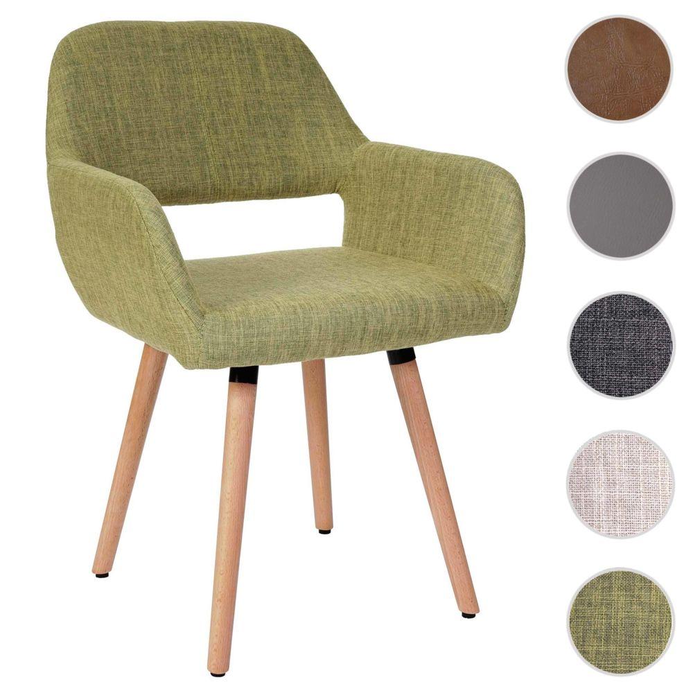 Mendler Chaise de salle à manger Altena II, fauteuil, design rétro des années 50 ~ tissu, vert clair