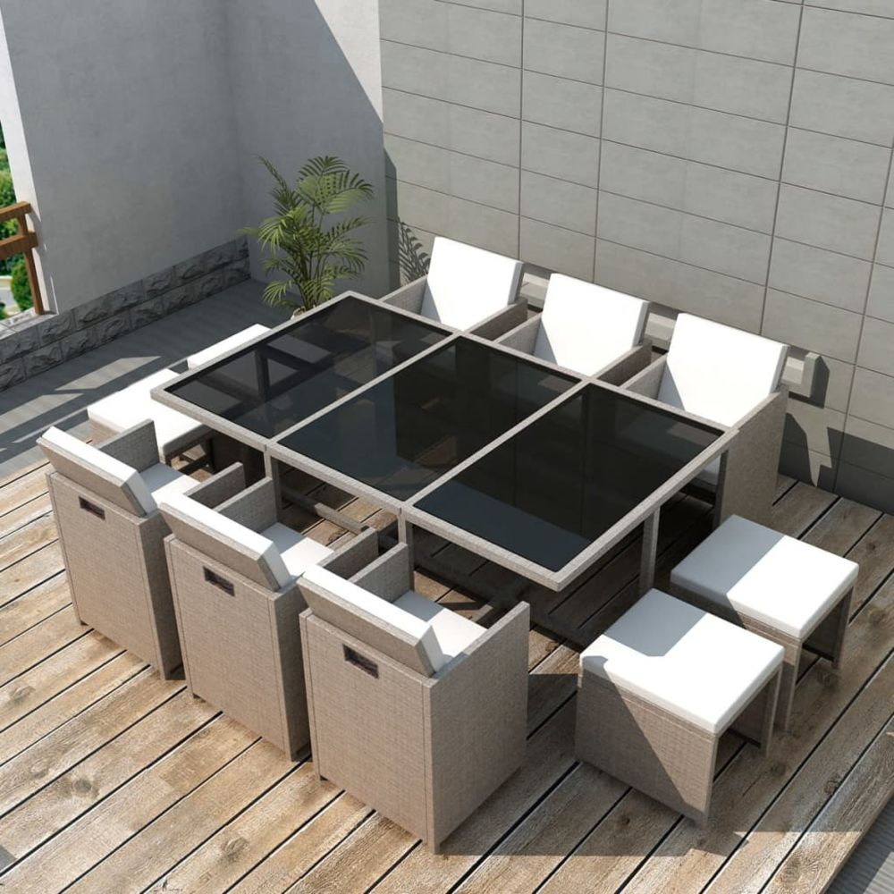 Vidaxl vidaXL Salon de jardin encastrable avec coussins 11 pcs Rotin Beige