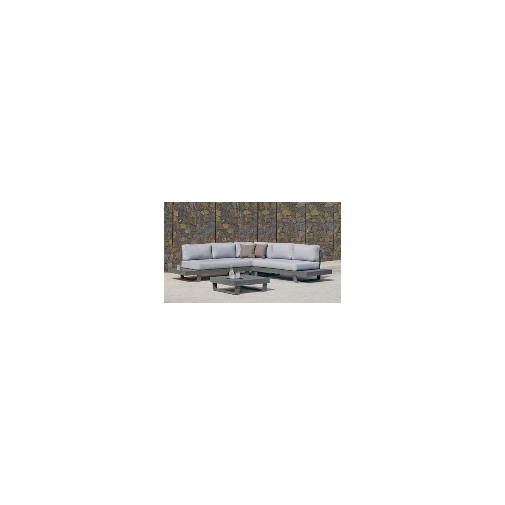 Hevea Hevea Ensemble Salon Sofa De Jardin MENFI 2+2 en ALUMINIUM ANTHRACITE Coussins couleur GRIS CLAIR HEV31486