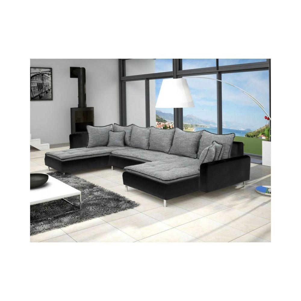 Meublesline Canapé panoramique dante 6 places tissu et simili cuir design