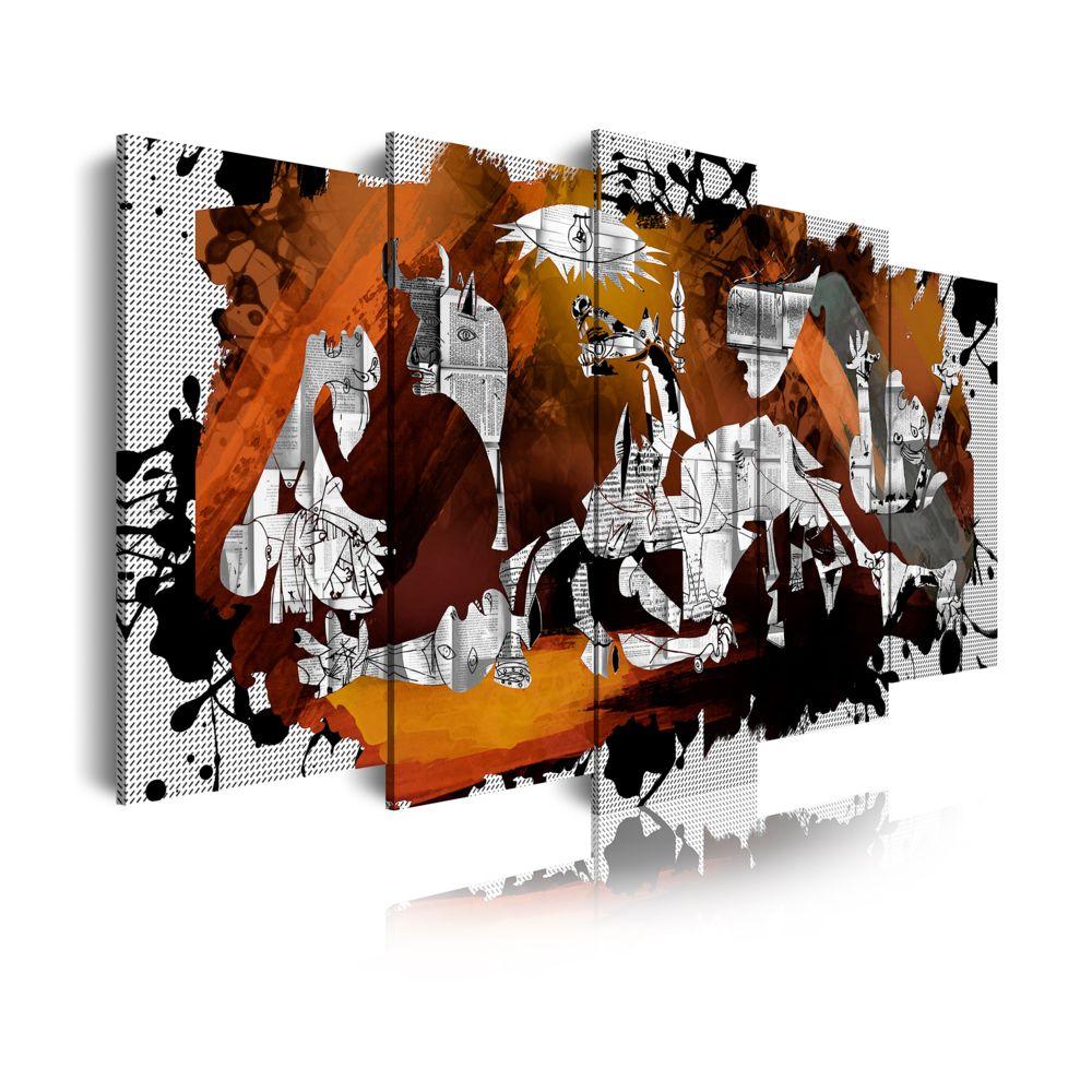 Dekoarte Dekoarte 427 Tableau Moderne Sur Toile Monte Sur Cadre En Bois 5 Pieces Style Guernica Picasso 150x80cm Tableaux Peintures Rue Du Commerce