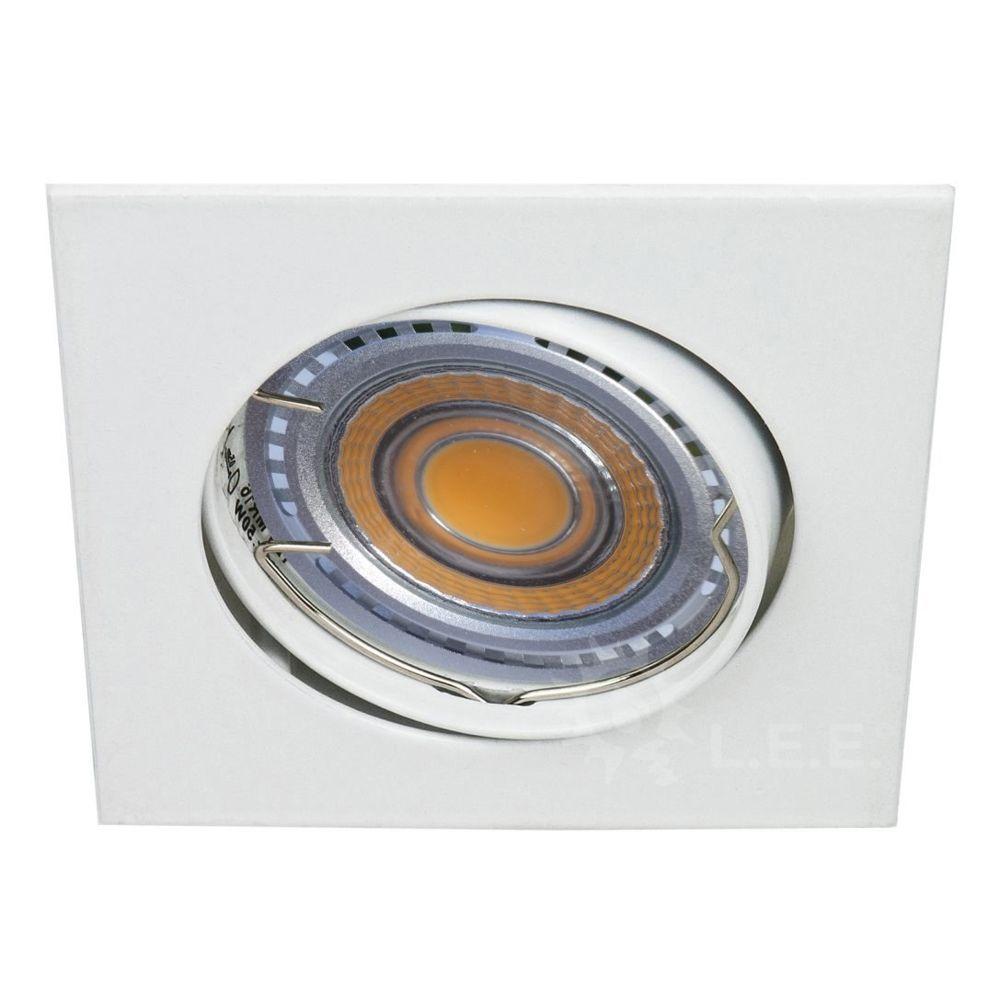 Eurobryte LOT DE 20 SPOT LED CARRE BLANC 230V 38° BLANC CHAUD
