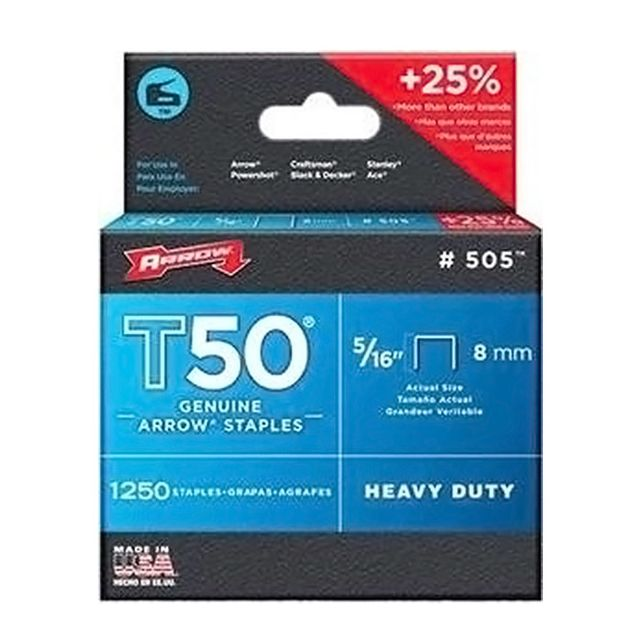 Arrow - arrow - lot de 1250 agrafes t50 8mm - 505 Arrow   - Agrafeuses