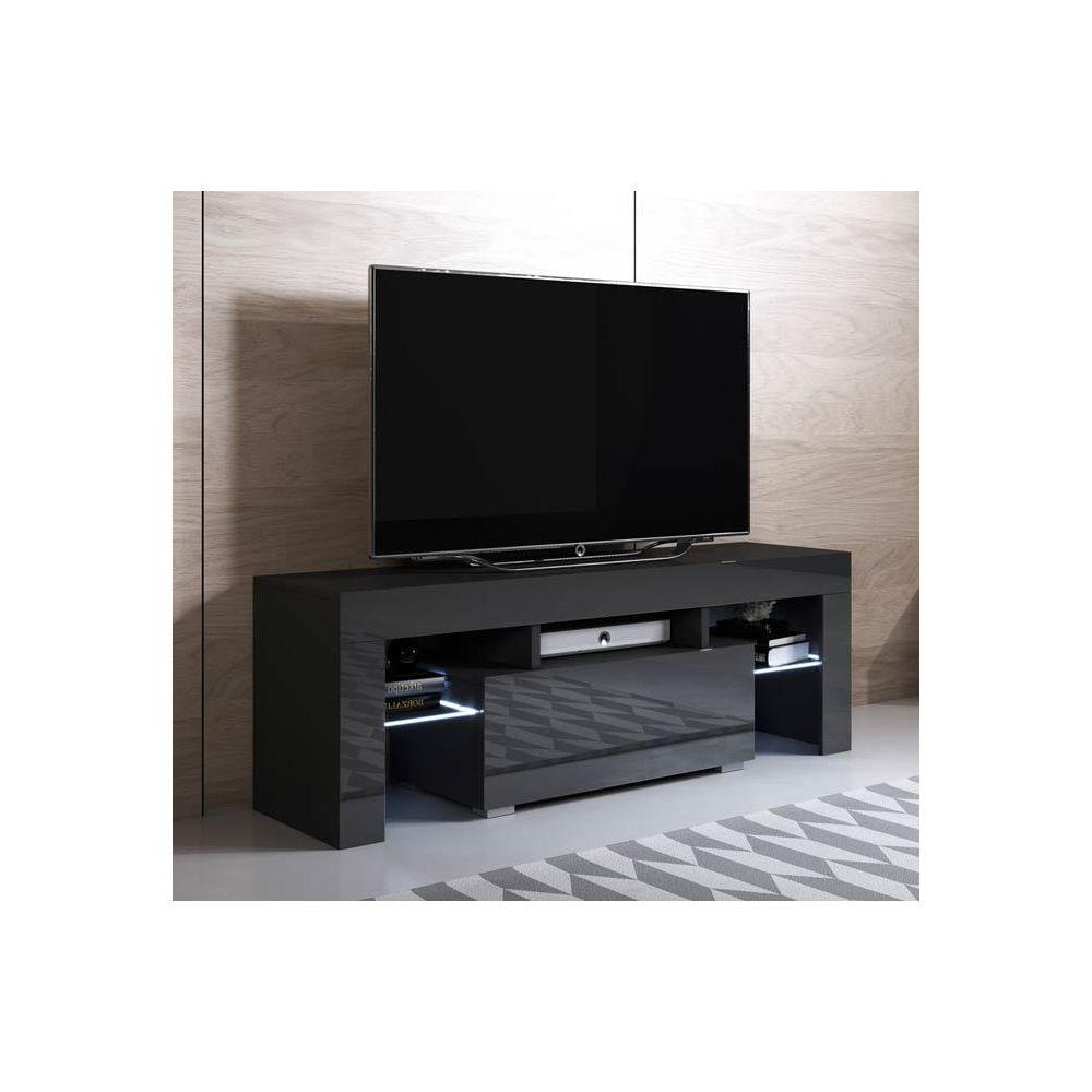 Design Ameublement Meuble TV modèle Elio (130x45cm) couleur noir avec LED RGB
