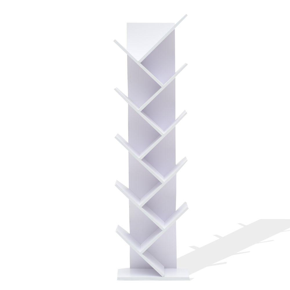 Mobili Rebecca Etageres Bibliotheque Bois Blanc Design Contemporain 160x44,5x22