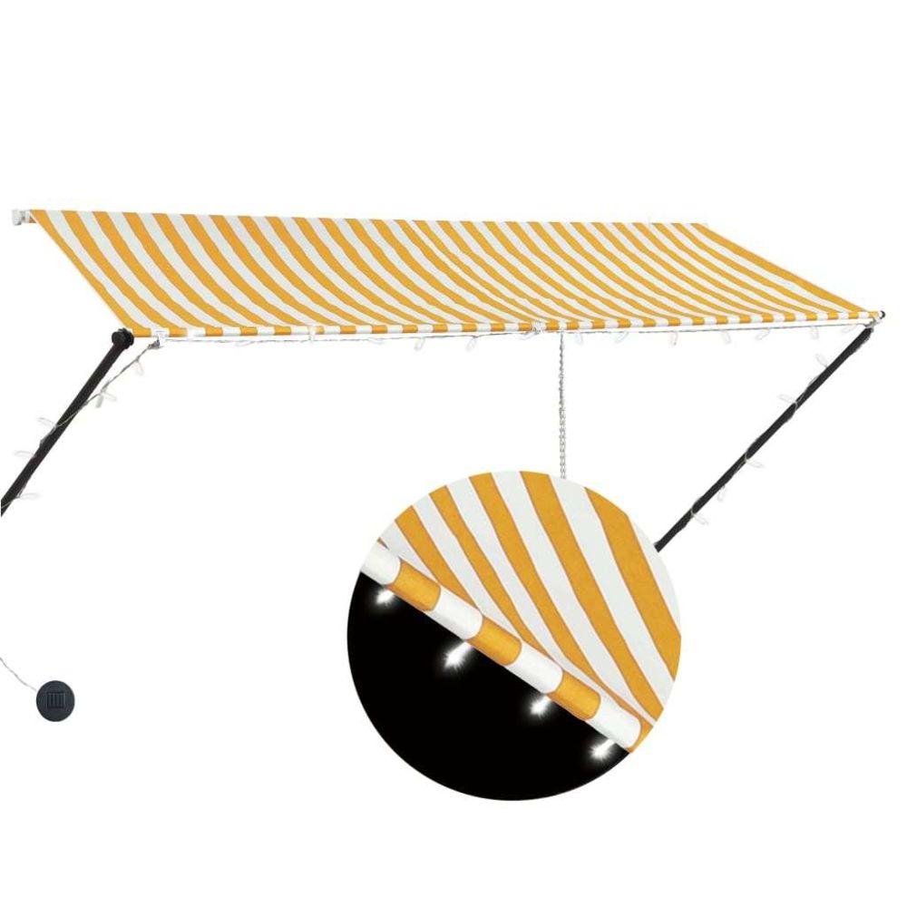 Generic Auvent rétractable avec LED 300x150 cm Jaune et blanc