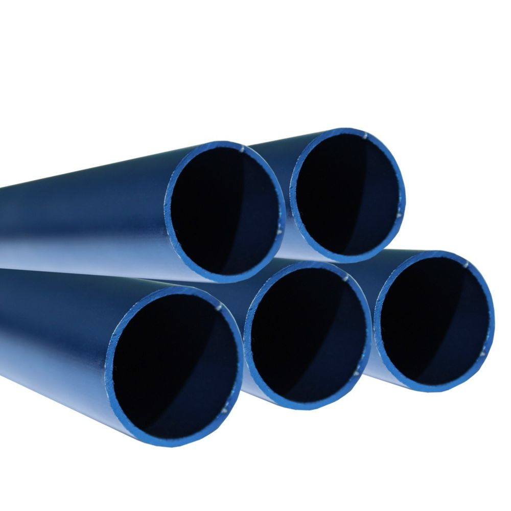 Saniverre Lot de 5_Tube aluminium anodisé longueur 200 cm Ø 30 mm Bleu