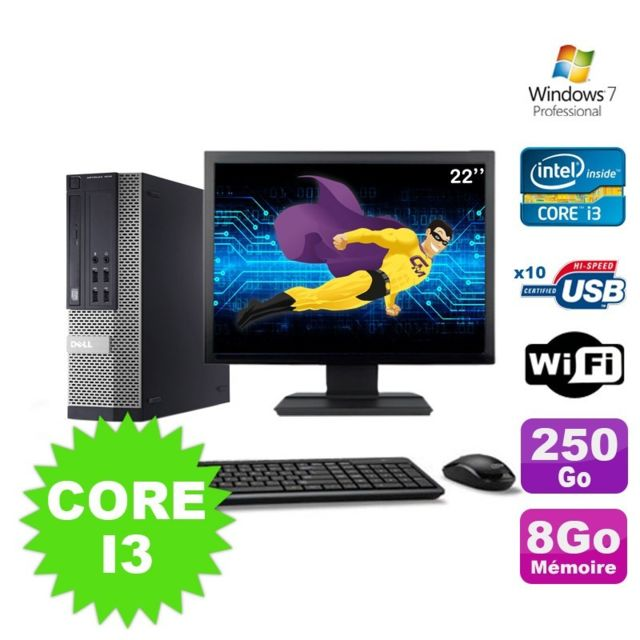 "Dell - Lot PC Dell Optiplex 990 SFF I3-2120 3.3GHz 8Go 250Go DVD Wifi W7 + Ecran 22"""""""" Dell   - Occasions Unité centrale"