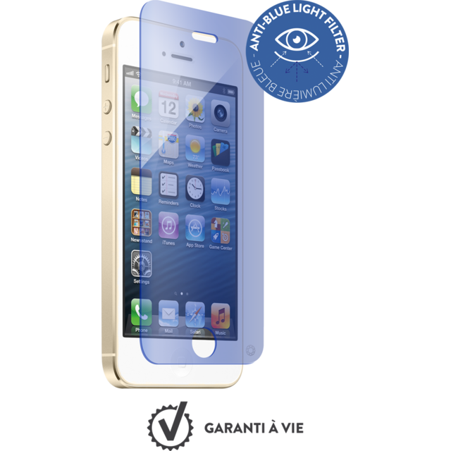 Force Glass - Verre trempé iPhone 5s/SE - Anti-bleu - Protection écran smartphone