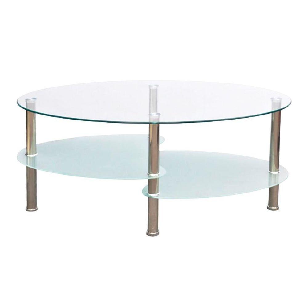 Helloshop26 Table basse de salon salle à manger design blanche verre ovale 90 x 45 cm 0902001