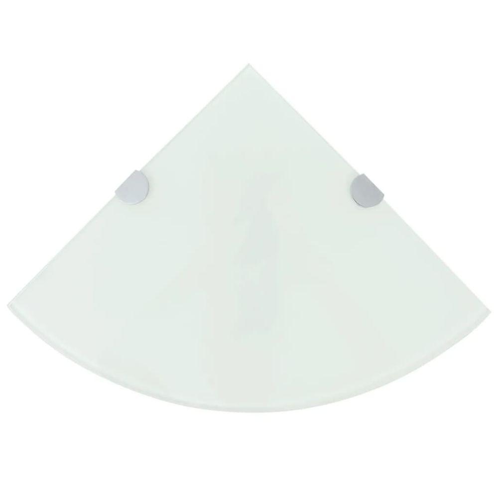 Uco UCO Étagères d'angle 2 pcs et supports chromés Verre Blanc 35x35 cm